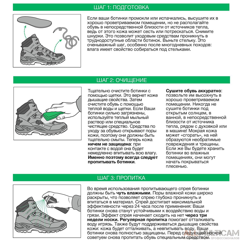Инструкция по уходу за обувью Lowa Шаг 1,2,3-3