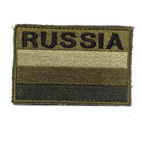 Шеврон в зелёно-коричневых тонах 'Russia' – купить с доставкой по цене 390р