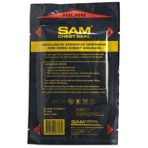 Пластырь при проникающих травмах груди без одностороннего клапана Sam Chest Seal – купить с доставкой по цене 3350руб.
